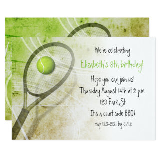 Girls' tennis birthday party 13 cm x 18 cm invitation card