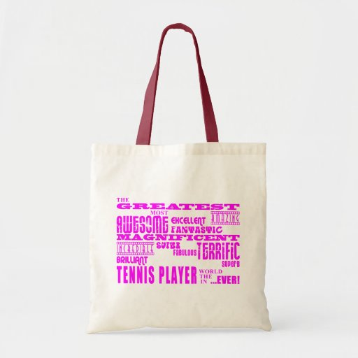 Girls Tennis : Pink Greatest Tennis Player Canvas Bag