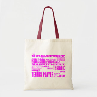 Girls Tennis : Pink Greatest Tennis Player Tote Bag