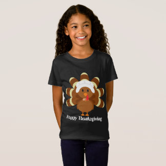 Girls Thanksgiving Pilgrim turkey add text t-shirt