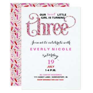 Girl's Third Birthday Red Pink Sprinkles 13 Cm X 18 Cm Invitation Card