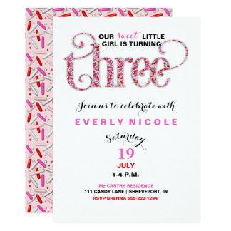 Girl's Third Birthday Red Pink Sprinkles 13 Cm X 18 Cm Invitation Card