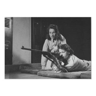 Girls Training in Victory Corps Rifle Marksmanship 13 Cm X 18 Cm Invitation Card