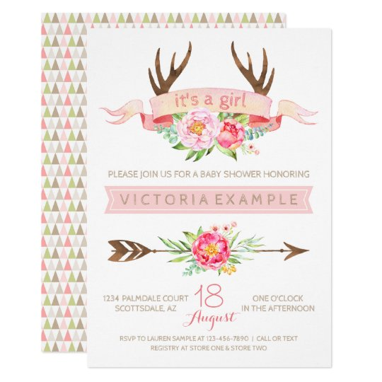 Baby shower invitations announcements zazzle uk girls tribal antler floral baby shower invitations filmwisefo Image collections