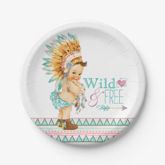 Girls Tribal Baby Shower 7 Inch Paper Plate