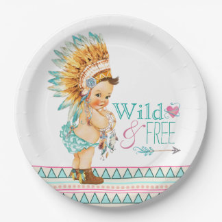 Girls Tribal Baby Shower 9 Inch Paper Plate