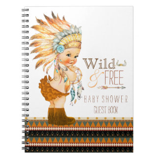 Girls Tribal Wild and Free Baby Shower Guest Book