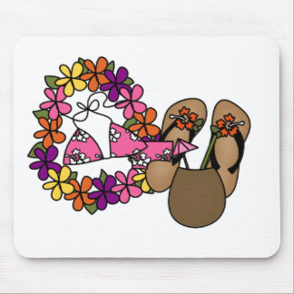 Girls Tropical Flip Flops One Mouse Pad