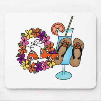Girls Tropical Flip Flops Three Mouse Pad