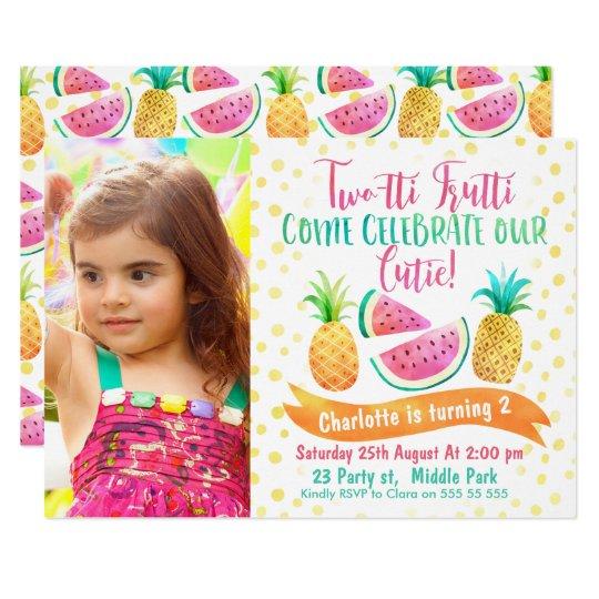 Girls Two-tti Frutti Photo 2nd Birthday Invitation