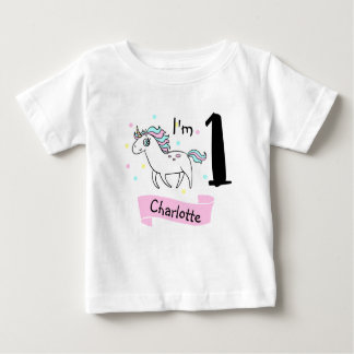 Girls Unicorn 1st Birthday T-shirt