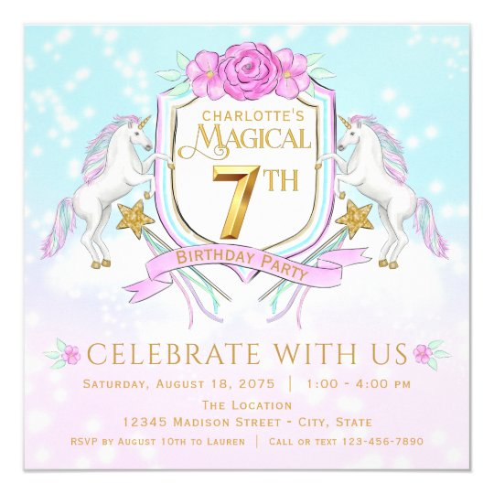 Girls unicorn 7th birthday party invitations zazzle girls unicorn 7th birthday party invitations stopboris Image collections