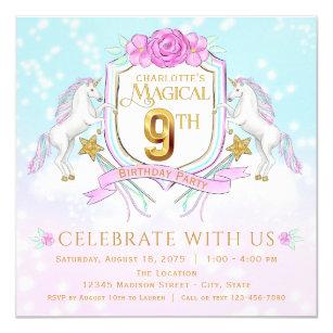 Girls Unicorn 9th Birthday Party Invitations