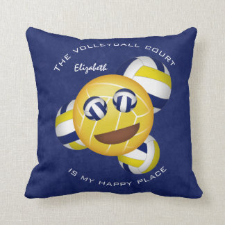 girls' vball blue gold happy place smiley emoji cushion