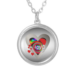 """Girl's""""Vibrant Love Heart """"Necklace Silver Plated Necklace"""