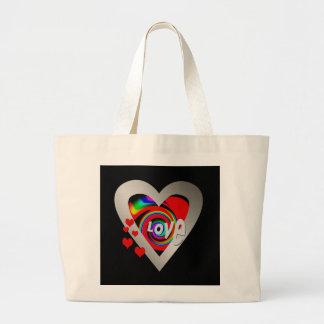 "Girl's""Vibrant Love Heart ""Tote Large Tote Bag"