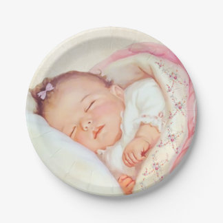 Girls Vintage Baby Shower 7 Inch Paper Plate