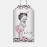 Girls Vintage Pink Black Baby Shower Gift Tags