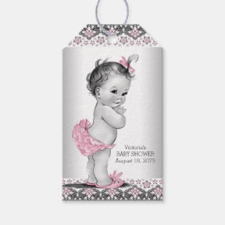 Girls Vintage Pink Black Baby Shower Gift Tags