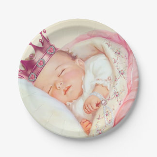 Girls Vintage Princess Baby Shower 7 Inch Paper Plate