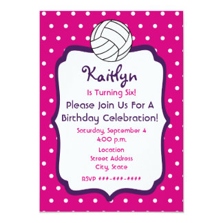 Girls Volleyball Birthday Invite- Pink With Purple Card