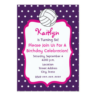 Girls Volleyball Birthday Invite- Purple With Pink Card
