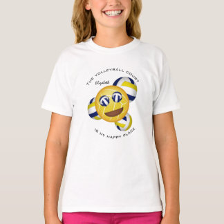 girls' volleyball court happy place smiling emoji T-Shirt