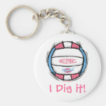 Girls Volleyball Gear by Mudge Studios Basic Round Button Key Ring