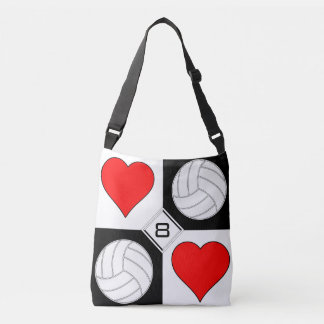 Girls Volleyball Hearts Cute Custom Cross-Body Bag