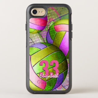 Girls volleyball hot pink purple yellow lime OtterBox symmetry iPhone 8/7 case