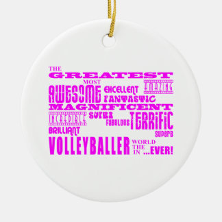 Girls Volleyballers : Pink Greatest Volleyballer Christmas Ornament