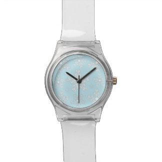 Girl's Watch White lt Blue Snowflakes
