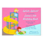 Girls Water Slide Birthday - Water Park Pool Party 13 Cm X 18 Cm Invitation Card