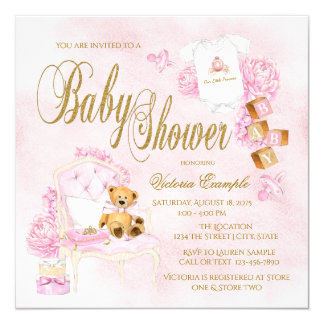 Girls Watercolor Pink Gold Baby Shower Invitations