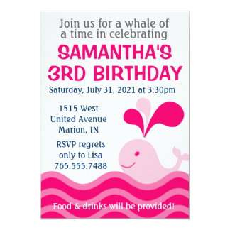"""Girl's Whale Pink Birthday Party Invitation 5"""" X 7"""" Invitation Card"""