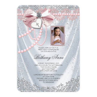 Girls White Satin Photo First Communion Card