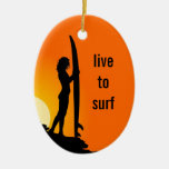 Girls Who Surf Personalised Oval Ornament