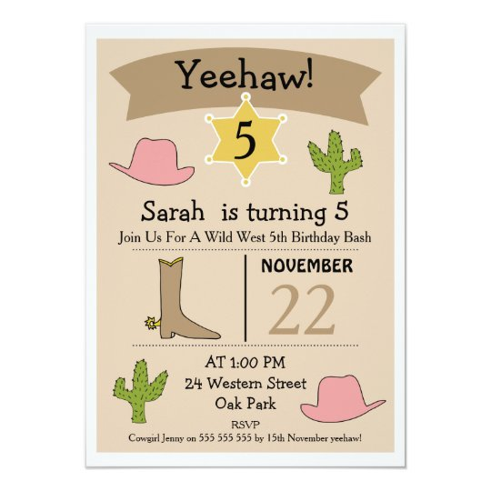 Girls Wild West Western Birthday Invitation