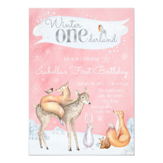 Girls Winter ONEderland 1st Birthday Party Card