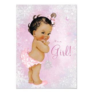 Girls Winter Wonderland Baby Shower Card