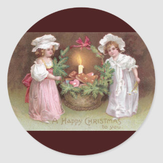 Girls with Basket of Christmas Cookies Vintage Classic Round Sticker