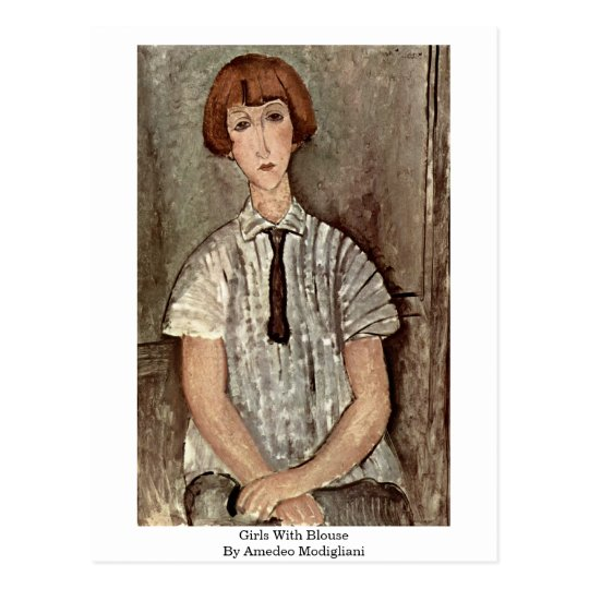 Girls With Blouse By Amedeo Modigliani Postcard