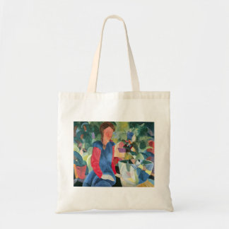 Girls with fish bell by August Macke Budget Tote Bag