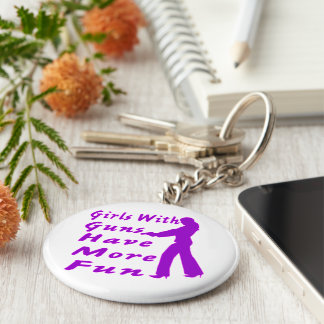 Girls With Guns Have More Fun 2 Basic Round Button Key Ring