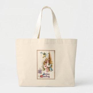Girls with Stockings Peer 'Round Door Vintage Xmas Jumbo Tote Bag