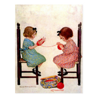 Girls With Yarn Postcard