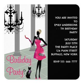 Girls Womans Any Number Birthday Party 13 Cm X 13 Cm Square Invitation Card