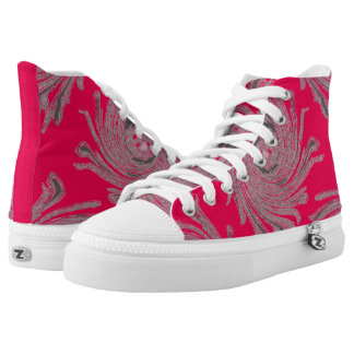 Girls/women pink canvas high top shoes custom printed shoes