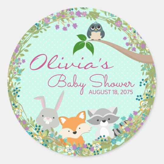 Girls Woodland Baby Shower Classic Round Sticker