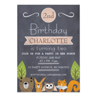 Girls Woodland Chalkboard Birthday Invitation